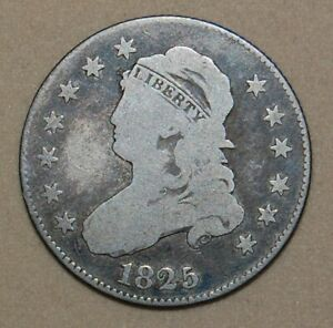 1825/2 CAPPED BUST SILVER QUARTER
