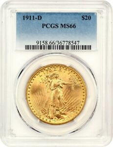 1911 D $20 PCGS MS66   TOUGH GEM   SAINT GAUDENS DOUBLE EAGLE   GOLD COIN
