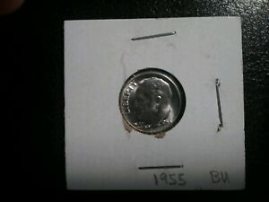 UNCIRCULATED 1955 ROOSEVELT SILVER DIME PHILADELPHIA MINT. GEM LIKE. BRILLIANT.