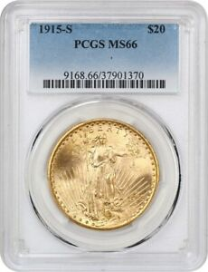 1915 S $20 PCGS MS66   FROSTY GEM    SAINT GAUDENS DOUBLE EAGLE   GOLD COIN