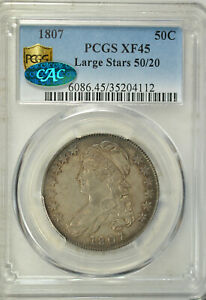 1807 CAPPED BUST HALF DOLLAR LARGE STARS 50/20 PCGS XF45 CAC