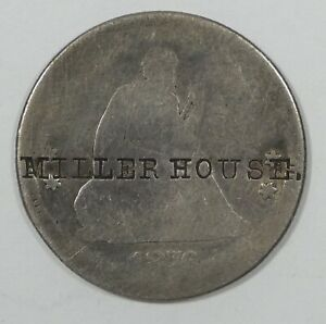 1876 LIBERTY SEATED  QUARTER AG SILVER 25C WITH MILLER HOUSE COUNTERSTAMP
