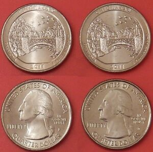 BRILLIANT UNCIRCULATED 2011 P & D US CHICKASAW 25 CENTS FROM MINT'S ROLLS