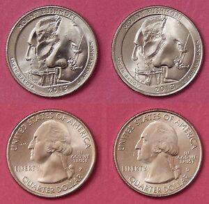BRILLIANT UNCIRCULATED 2013 P & D US MOUNT RUSHMORE 25 CENTS FROM MINT'S ROLLS