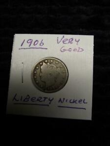 1906 LIBERTY HEAD NICKEL VERY GOOD CONDITION  LOW MINTAGE 38 612 000 24TH YEAR