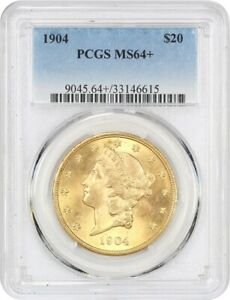 1904 $20 PCGS MS64    LIBERTY DOUBLE EAGLE   GOLD COIN