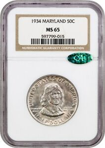 1934 MARYLAND 50C NGC/CAC MS65   COLORFUL TONING   SILVER CLASSIC COMMEMORATIVE