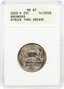 2003 P ARKANSAS 25C ANACS MS65  STRUCK THRU GREASE    STATEHOOD QUARTER