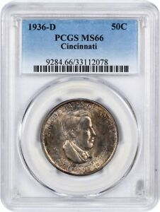 1936 D CINCINNATI 50C PCGS MS66   LOW MINTAGE ISSUE   LOW MINTAGE ISSUE
