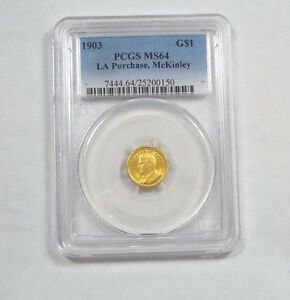 1903 LOUISIANA PURCHASE/MCKINLEY EXPOSITION COMMEMORATIVE GOLD $1 PCGS MS 64