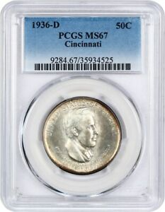 1936 D CINCINNATI 50C PCGS MS67   LOW MINTAGE ISSUE   LOW MINTAGE ISSUE
