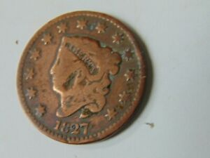 1827 UNITED STATES AMERICA ONE LARGE CENT COPPER COIN CORONET LIBERTY SALE