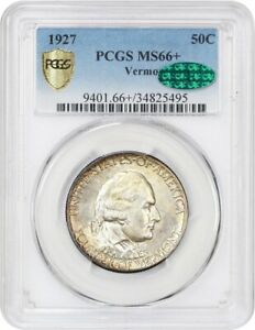 1927 VERMONT 50C PCGS/CAC MS66  COLORFUL TONING   SILVER CLASSIC COMMEMORATIVE