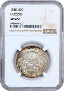 1935 HUDSON 50C NGC MS65  LOW MINTAGE ISSUE   SILVER CLASSIC COMMEMORATIVE