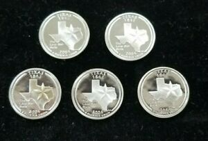 LOT OF 5 2004 S SILVER TEXAS STATEHOOD QUARTER GEM PROOF COINS  LONE STAR  I458