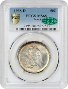 1938 D TEXAS 50C PCGS/CAC MS68   LOW MINTAGE ISSUE   BEAUTIFUL TONING