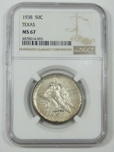 1938 TEXAS INDEPENDENCE CENTENNIAL SILVER COMMEMORATIVE HALF DOLLAR NGC MS 67