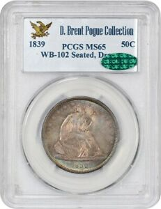 Click now to see the BUY IT NOW Price! 1839 50C PCGS/CAC MS65  WB 102 DRAPERY  EX: POGUE   BEAUTIFUL GEM
