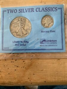 Click now to see the BUY IT NOW Price! TWO SILVER CLASSICS 1944 LIBERTY WALKING HALF DOLLAR 1941 MERCURY DIME