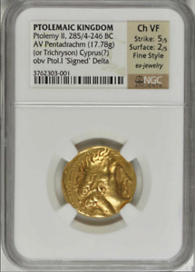 Click now to see the BUY IT NOW Price! PTOLEMAIC KINGDOM PTOLEMY II 285/4 246 BC GOLD AV PENTADRACHM TRICHRYSON  NGC