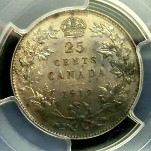 PCGS AU DETAIL SECURE CANADA 1919 GEORGE V SILVER 25 CENTS
