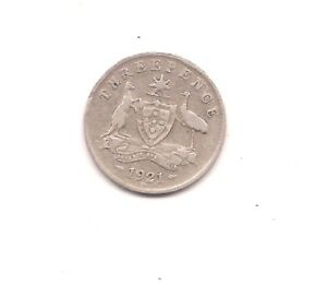 1921 M  AUSTRALIA SILVER THREE PENCE   HONEST WEAR