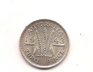1943 D AUSTRALIA SILVER THREE PENCE  VERY STRONG DETAILS