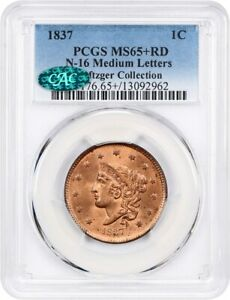 Click now to see the BUY IT NOW Price! 1837 1C PCGS/CAC MS65  RD  N 16 MEDIUM LETTERS  EX: NAFTZGER COLLECTION