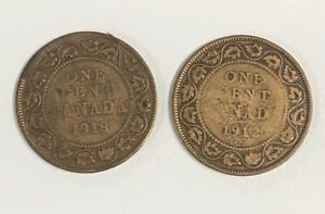 1912 1918 CANADA LARGE CENTS LOT OF 2