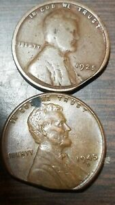 LINCOLN HEAD CENT ERROR: 1925 & 44 D COINS WITH CLIPS