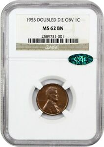 1955/1955 1C NGC/CAC MS62 BN   POPULAR VARIETY   LINCOLN CENT   POPULAR VARIETY