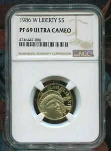 Click now to see the BUY IT NOW Price! 1986 W STATUE OF LIBERTY $5 GOLD COIN   NGC PF69 UC