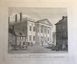 WILLIAM BIRCH PHILADELPHIA ENGRAVING ANTIQUE PRINT 1800 GIRARDS BANK