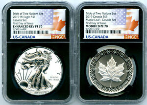 Click now to see the BUY IT NOW Price! 2019 W CANADA RCM VERSION PRIDE OF TWO NATIONS NGC PF70 SET FIRST DAY ISSUE 10K