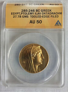 Click now to see the BUY IT NOW Price! PTOLEMAIC GOLD OKTADRACHM/OCTODRACHM ARSINOE II WIFE PTOLEMY II 285 BC ANACS