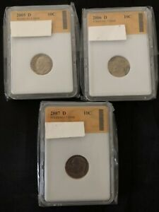 COIN LOT THREE DIME 2005 2007 SLABBED DEALER'S LOT 612 SAN FRANCISCO