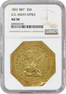 Click now to see the BUY IT NOW Price! 1852 ASSAY $50 NGC AU50  .887 THOUS  POPULAR PIONEER GOLD ISSUE