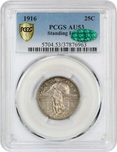 Click now to see the BUY IT NOW Price! 1916 STANDING LIBERTY 25C PCGS/CAC AU53   FAMOUS KEY DATE   FAMOUS KEY DATE