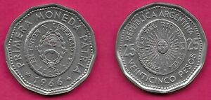 ARGENTINA 25 PESOS 1966 XF 1ST ISSUE OF NATIONAL COINAGE IN 1813 RADIANT SUNFACE