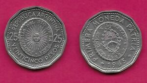 ARGENTINA 25 PESOS 1965 XF 1ST ISSUE OF NATIONAL COINAGE IN 1813 RADIANT SUNFACE