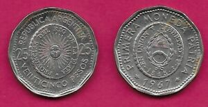 ARGENTINA 25 PESOS 1967 XF 1ST ISSUE OF NATIONAL COINAGE IN 1813 RADIANT SUNFACE