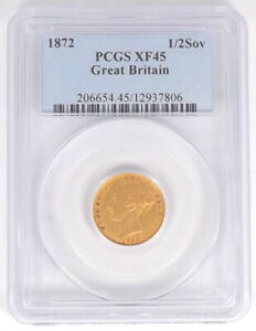 1872 GREAT BRITAIN GOLD 1/2SOV HALF 1/2 SOVEREIGN PCGS XF45 T65