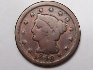 1848 US BRAIDED HAIR LARGE CENT  OLD CLEANING .  15