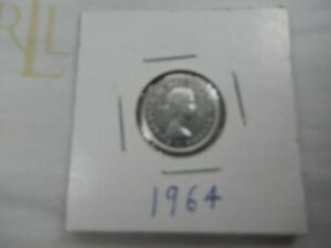 1964 CANADIAN SILVER DIME CIRCULATED   PERFECT FOR COIN BOOKS