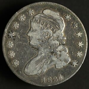 1834 CAPPED BUST SILVER HALF DOLLAR 50C NICELY TONED   ERROR: LAMINATION OBVERSE