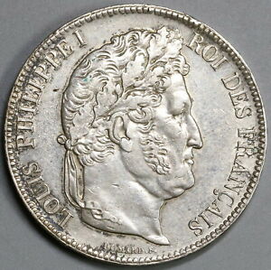 1840 W FRANCE 5 FRANCS LOUIS PHILIPPE I AU SILVER CROWN LILLE COIN  19101702R
