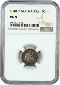 1840 O 10C NGC VG 08  NO DRAPERY  LIBERTY SEATED DIME