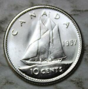 CANADA 1957 SILVER 10 CENTS NEAR GEM BRILLIANT UNCIRCULATED CAMEO  LUSTROUS