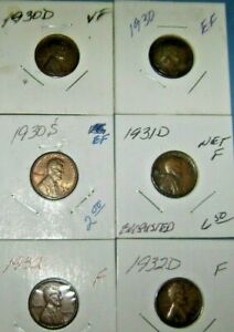 6  WHEAT PENNIES VG CIRCULATED NOT CLEANED