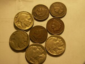NICE LOT OF 8 BUFFALOS AND INDIANS.